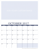 Newly Personalized October 2017 Calendar