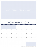 Newly Personalized November 2017 Calendar