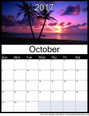 New October 2017 Printable Monthly Calendar