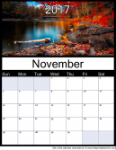 New November 2017 Printable Monthly Calendar