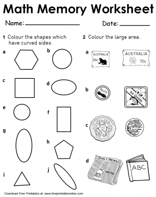 Curve Sides and Area Worksheets