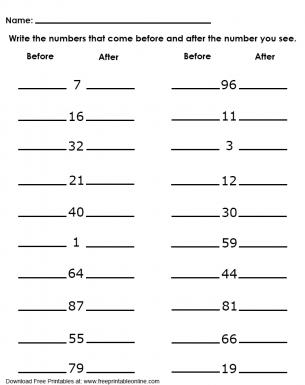 numbers before and after worksheet. Black Bedroom Furniture Sets. Home Design Ideas