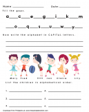 Alphabet and Alphabetical Order Worksheet
