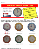 Learning About Hour Time Worksheet