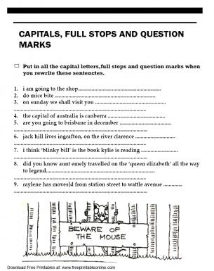 capitals full stops and question marks worksheet. Black Bedroom Furniture Sets. Home Design Ideas