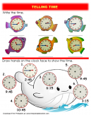 Fish and Whale Telling Time Worksheet