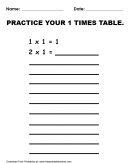Practice 1 Times Table Worksheet