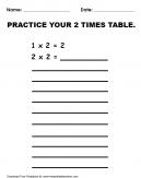 Practice 2 Times Table Worksheet