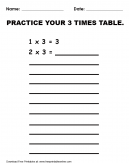 Practice 3 Times Table Worksheet