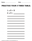 Practice Your 5 Times Table Worksheet