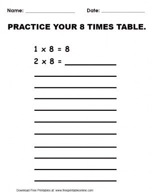 Practice 8 Times Table Worksheet
