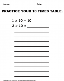 Practice 10 Times Table Worksheet