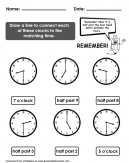 Matching Time Worksheet