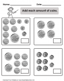 Addition of Coins Worksheet