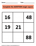 Addition Magic Square Printable Worksheet