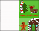Cute Penguins and Gingerbread Christmas Card