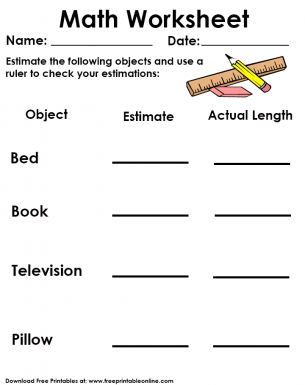 Estimation and Actual Length Measurement Worksheet