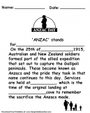 Anzac Day Kids Worksheet