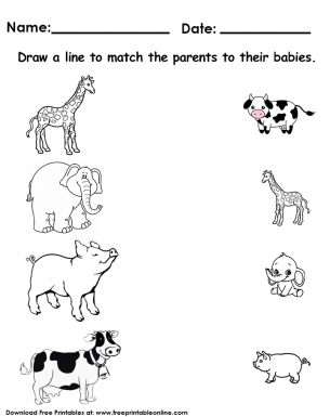 animals matching worksheet. Black Bedroom Furniture Sets. Home Design Ideas