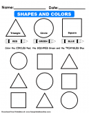 Shapes and Colors Kids Worksheet