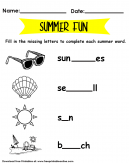 Summer Words Worksheet