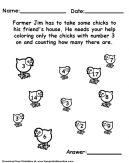 Counting and Coloring Worksheet - Count farmer jums chickens that have the number 3 on them