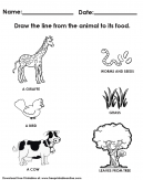 Animal and Its Food Worksheet