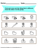 Free Find the Different Thing Worksheet