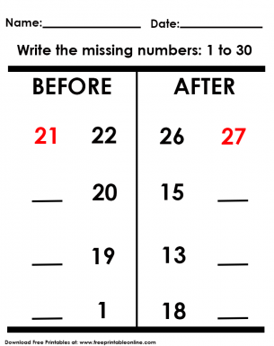 before and after missing numbers worksheet. Black Bedroom Furniture Sets. Home Design Ideas