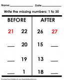 Before and After Missing Numbers Worksheet