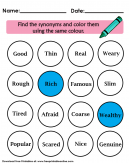 Synonyms Worksheet