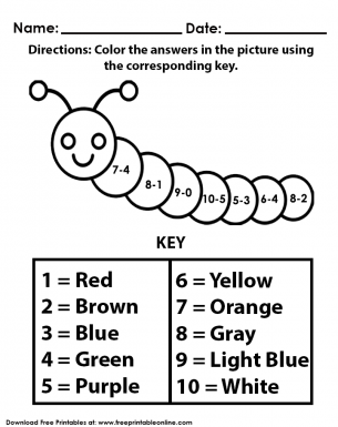 Answer ME Color ME Subtraction Worksheet