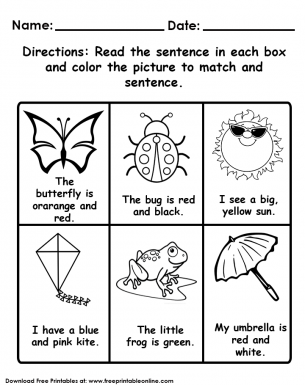 Read and Color Kids Worksheet