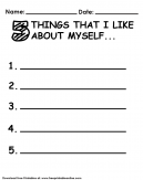 5 Things I like about Myself Worksheet