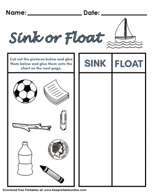 Sink Or Float Worksheet