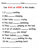 Was and Were Worksheet