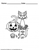 Halloween Cat Trick or Treat Coloring Pages