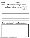 Silly Sentence Worksheet