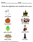 Creepy Halloween Adjectives and Nouns Worksheet