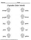 Cupcake Color Words Worksheet.
