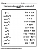 Contraction Words Worksheet
