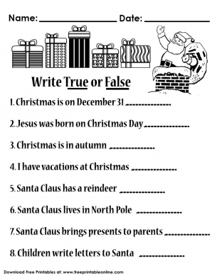 All about Christmas Worksheet