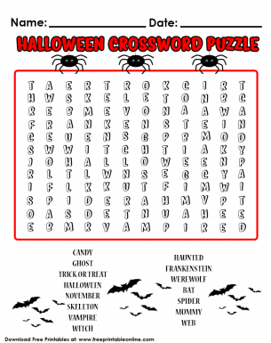graphic about Halloween Crossword Puzzle Printable known as Halloween Themed Phrase Puzzle - Crossword Puzzle