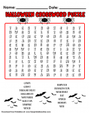 Halloween Word Puzzle a Crossword Puzzle with red Highlights