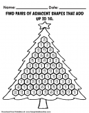 Christmas Tree Addition of adjacent number to get 10 sheet