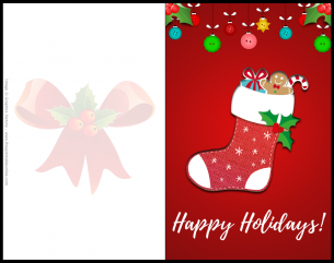 Christmas card design with a stocking full of presents that says happy holidays on it