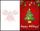 Christmas card design with a Christmas tree on it full of decorations that says happy holidays on it