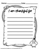 Thanksgiving Day Worksheet for Kids  - I am Thankful For... now fill in the blanks