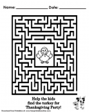 Thanksgiving Day - Maze - Activity Worksheet For Kids