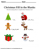 Christmas - Fill In The Blanks - Worksheet . Fill in the missing letters to complete these Christmas words